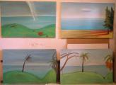 Lucie Ferliková, Four islands, acrylic colour on canvas, 4times 130x75cm, 2006