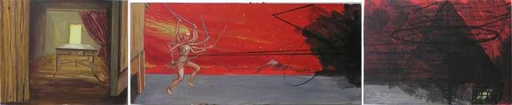 Lucie Ferliková, Minulost i budoucnost, 40x33-80x35,5-53x37,5cm, akryl na sololitu, 2009