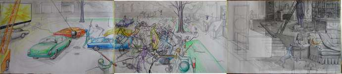 Lucie Ferliková, Dream about battle between unbeatable skeletons and a ghost of the ancestor, 76-356 cm marker, ballpoint pen, pencil, china ink on paper, 2008