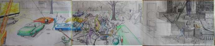 Lucie Ferliková, Sen o bitvě s neporazitelnými kostrami a duchem předka, 76-356cm fix, propiska, tužka, tuš na papíře, 2008