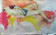 Lucie Ferliková, Studie aktu, tempera na papíře, 200x125cm, 2001