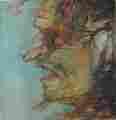 Lucie Ferliková, Landscape-witch, acrylic colour on fibreboard, 40x40cm, 2004