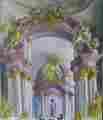 Lucie Ferliková, Studie oltáře kostela v Sedleci u Kutné Hory, olej na sololitu, 34x31cm, 2002