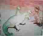 Lucie Ferliková, Zdálo se mi, že mám psíka, tempera na papíře, 185x160cm, 2001