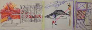 Lucie Ferliková, Vzpomínka / Třetí válka, tužka, fix, propiska na papíře, 21x60cm, 2007