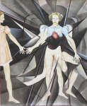 Lucie Ferliková, Na počátku stvoření materiálního světa Lucifer, tuš, akvarel na papíře, 143x177cm, 2012