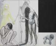 Lucie Ferliková, Vyrovnání, tužka, tuš, akryl na plátně, 2x 170x70cm 65x45cm, 2011