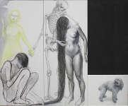 Lucie Ferliková, The Conciliation, pencil, ink, acryl on canvas, 2x 170x70cm 65x45cm, 2011