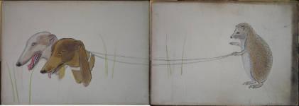 Lucie Ferliková, Z cyklu názorné výuky č.3, akryl na kartonu, 202x72,5cm, 2008